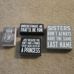 Primitives by Kathy Black & White Wooden Signs